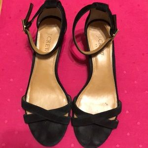 J Crew Black Suede Demi Wedge Ankle Strap EUC